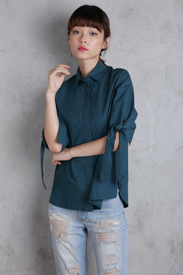 Nora Tie Sleeve Shirt (Teal)