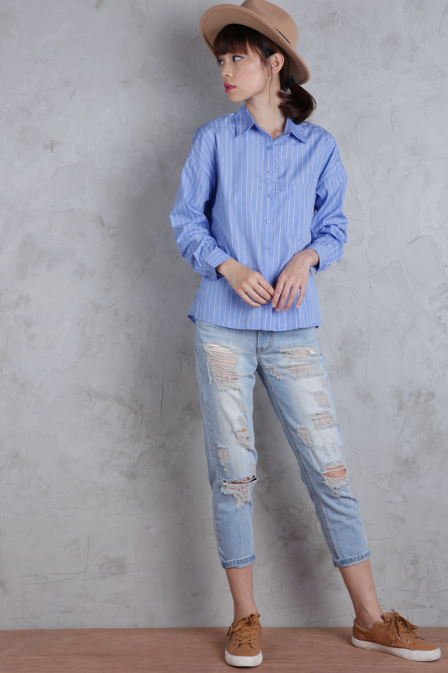 Smith Oversized Shirt (Blue Stripes)