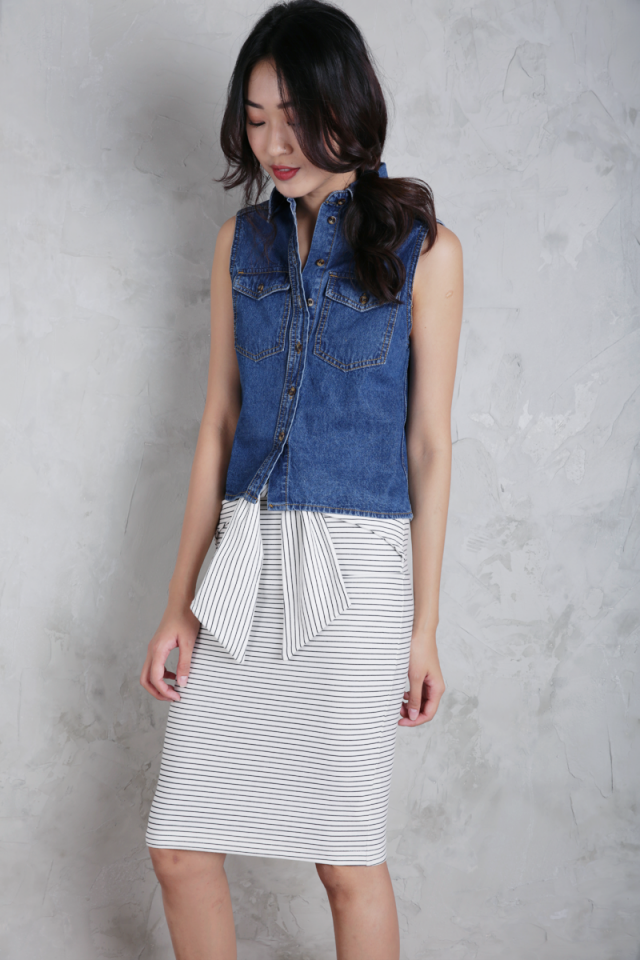 Hilda Denim Top (Dark Wash)