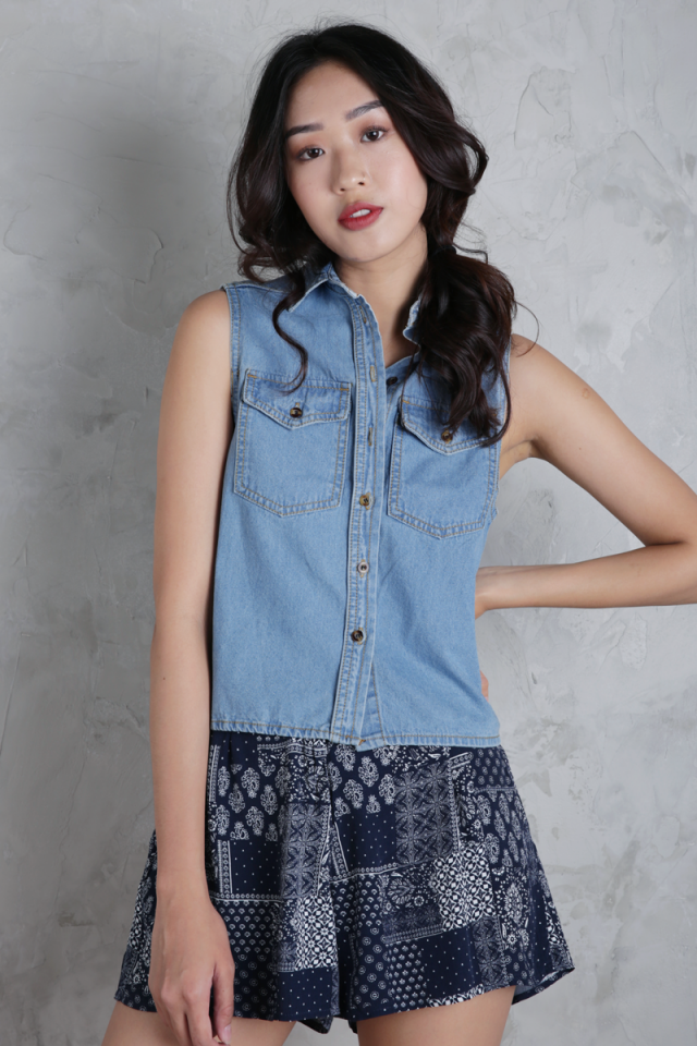 Hilda Denim Top (Vintage Wash)