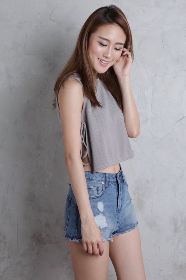 Selma Side Tie Top (Grey)
