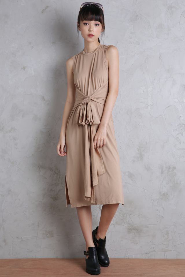Tiki Versatile Wrap Midi Dress (Sand)