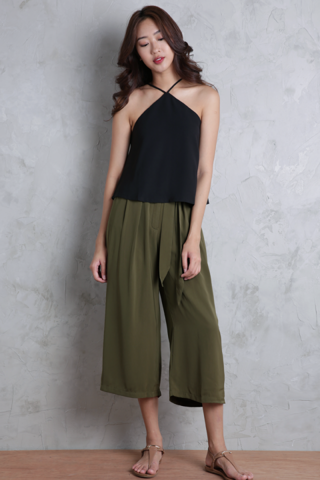 Kath Pleated Culottes (Olive)