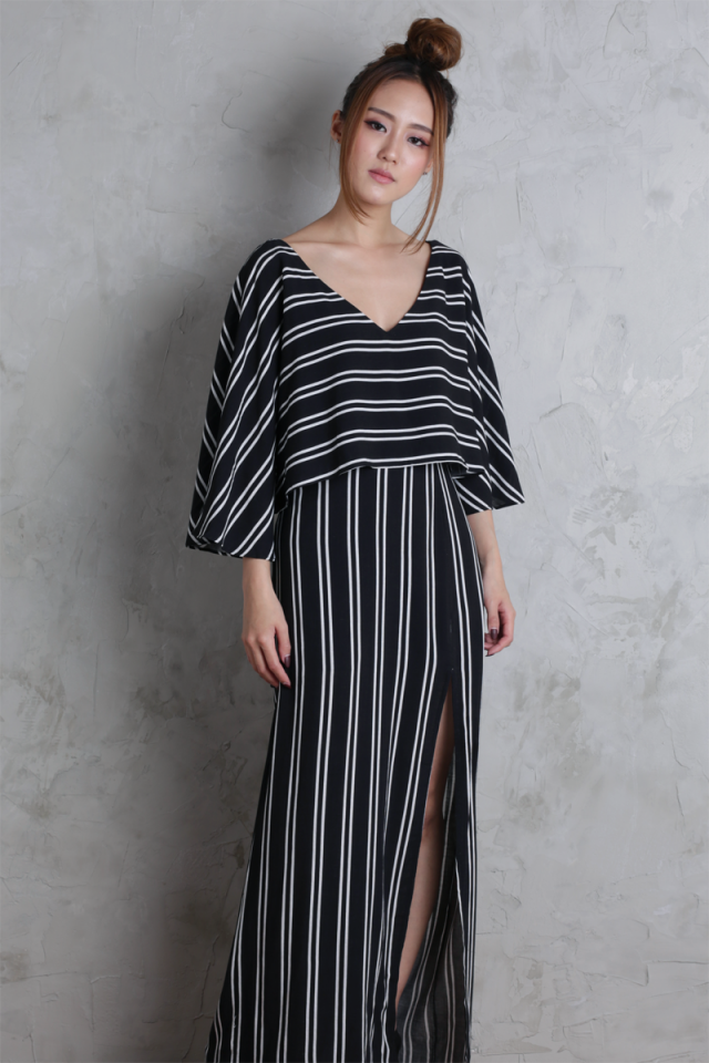 Sonya Flare Top (Black Stripes)