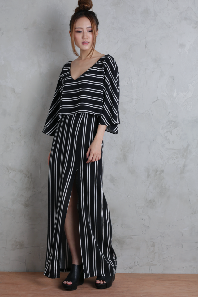 Orion Split Skirt (Black Stripes)