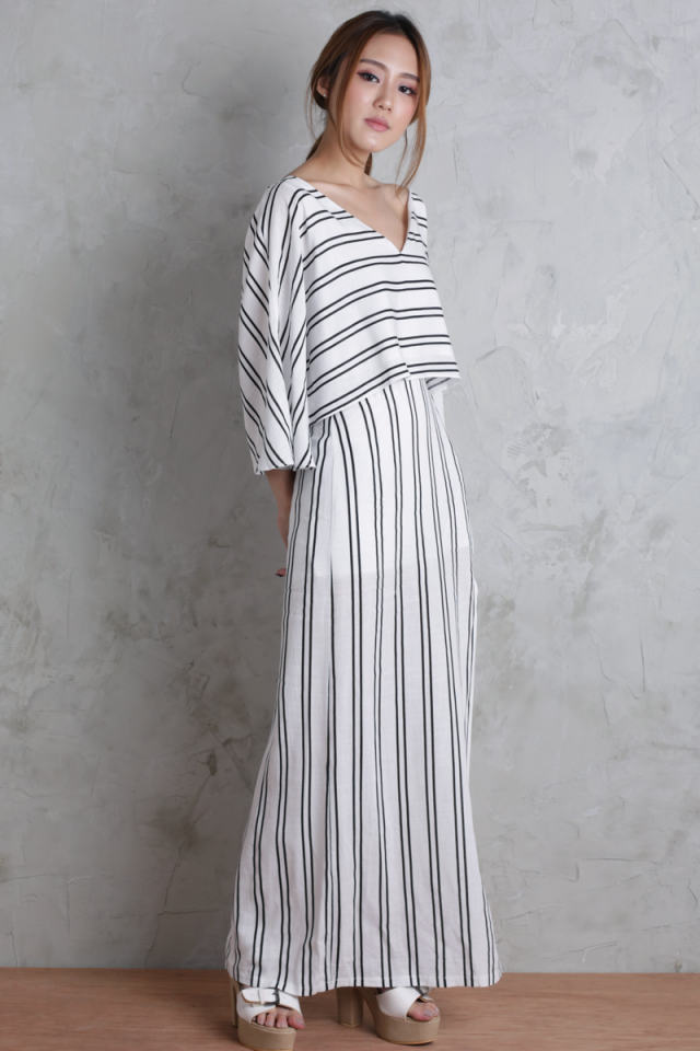 Orion Split Skirt (White Stripes)