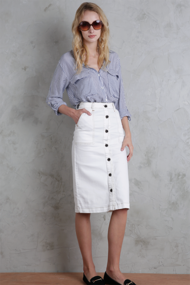 Finders Denim Midi Skirt (White)