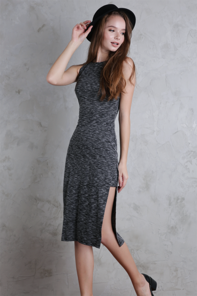 Floyd Midi Dress (Distressed Grey)