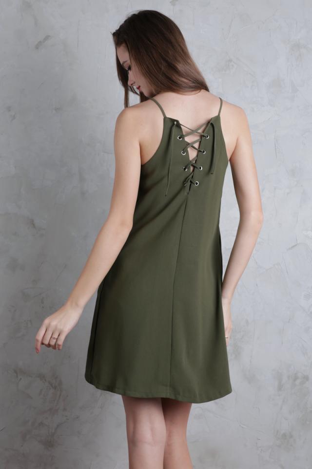 Lovina Laced Up Dress (Olive)