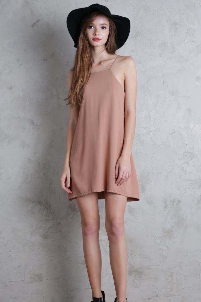 Lovina Laced Up Dress (Nude)