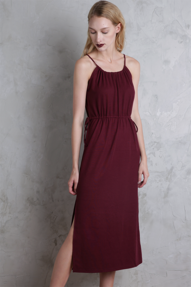 Rayne Midi Dress (Maroon)