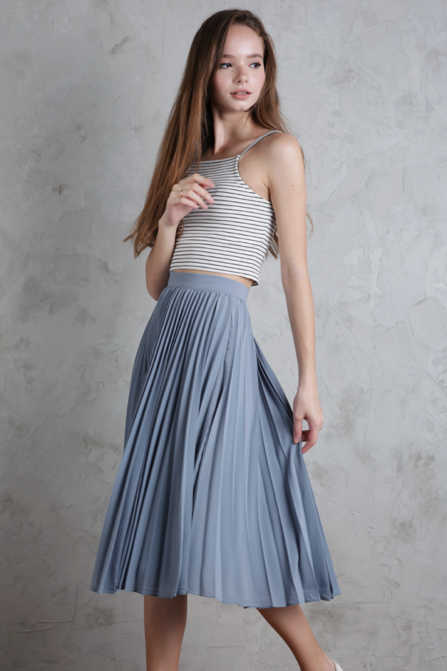 Courtney Pleated Midi Skirt (Ash Blue)