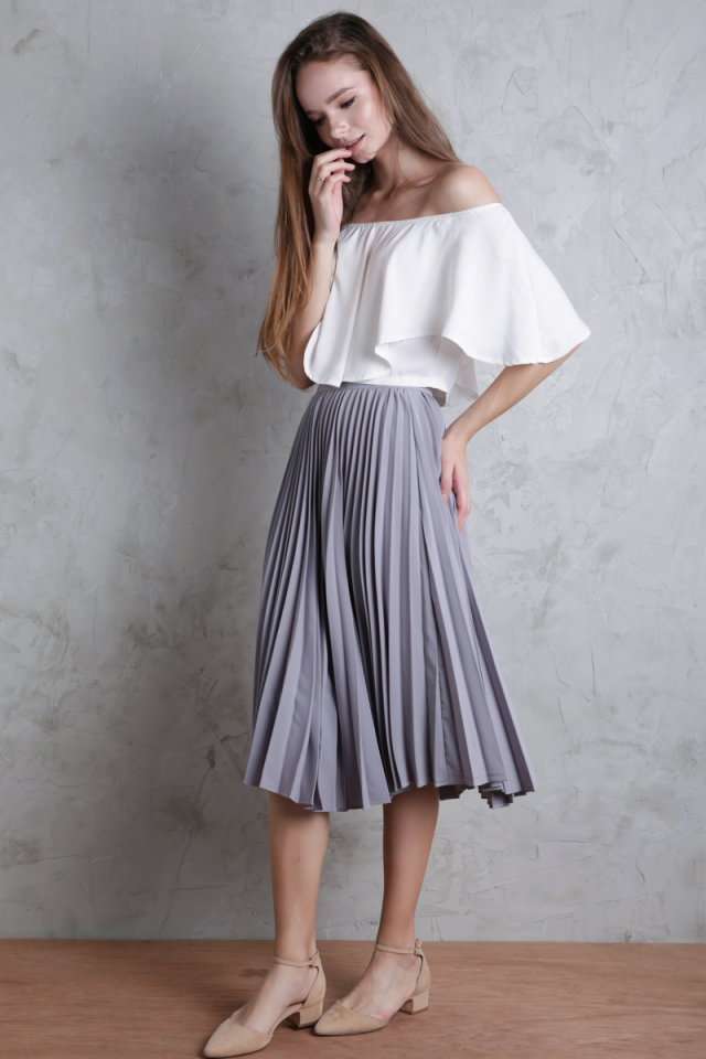 Courtney Pleated Midi Skirt (Dove Grey)