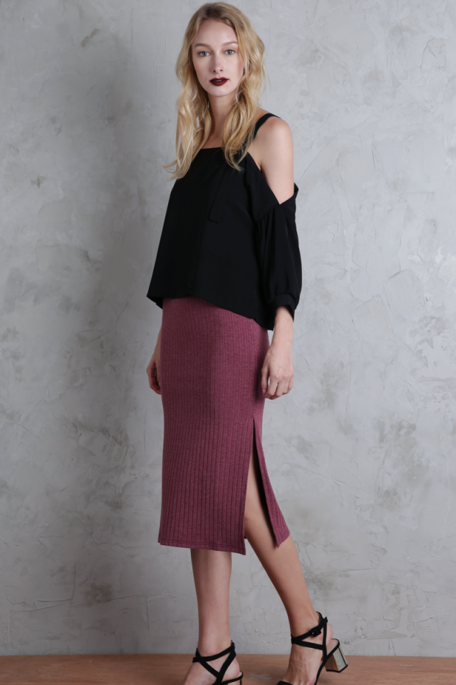 Lucia Knit Skirt (Rosewood)