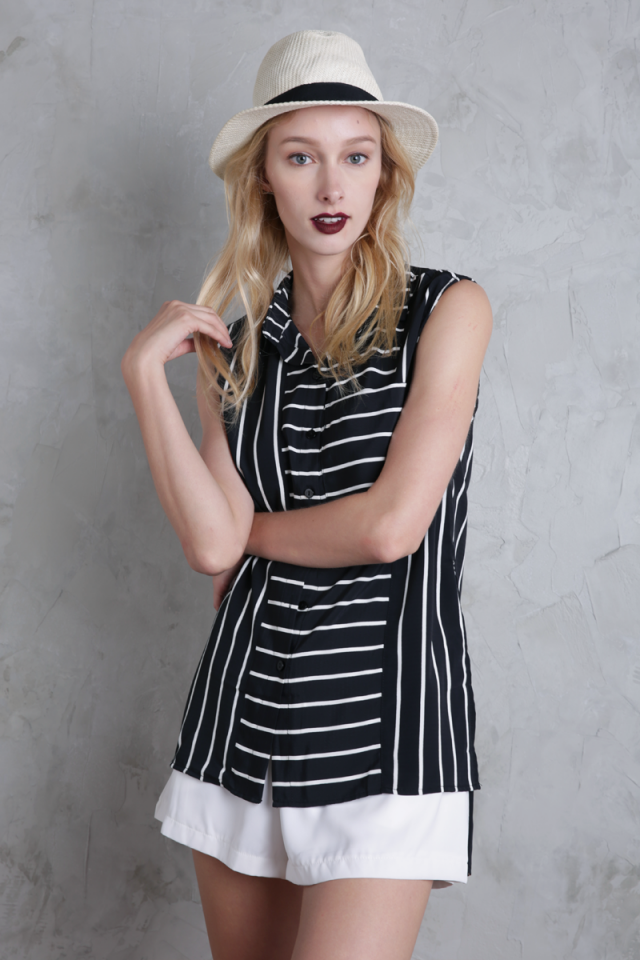 Lynn Split Side Shirt (Black Stripes)