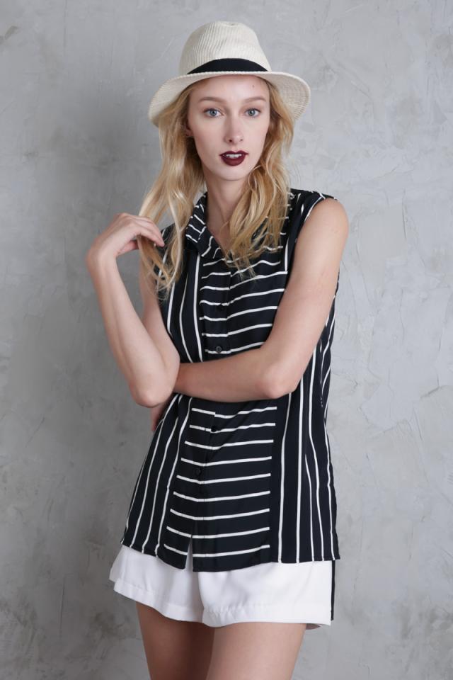 Lynn Split Side Shirt (Black Stripes)