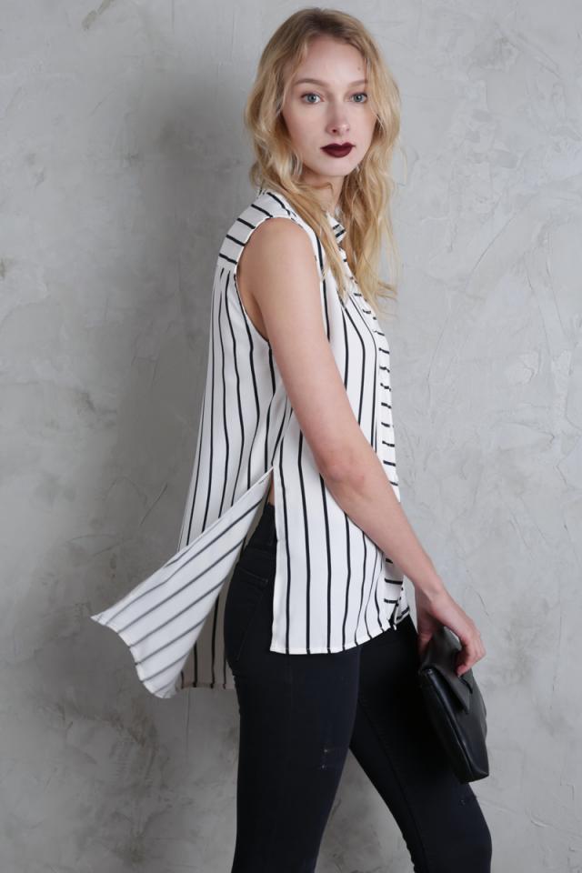 Lynn Split Side Shirt (White Stripes)