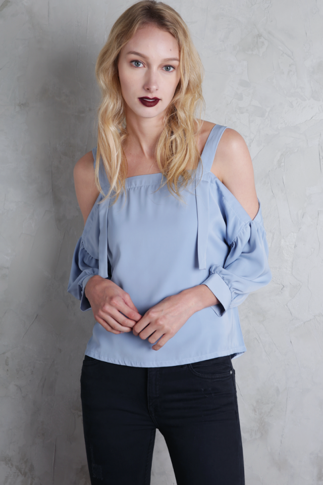 Cassia Cold Shoulder Top (Dusty Blue)