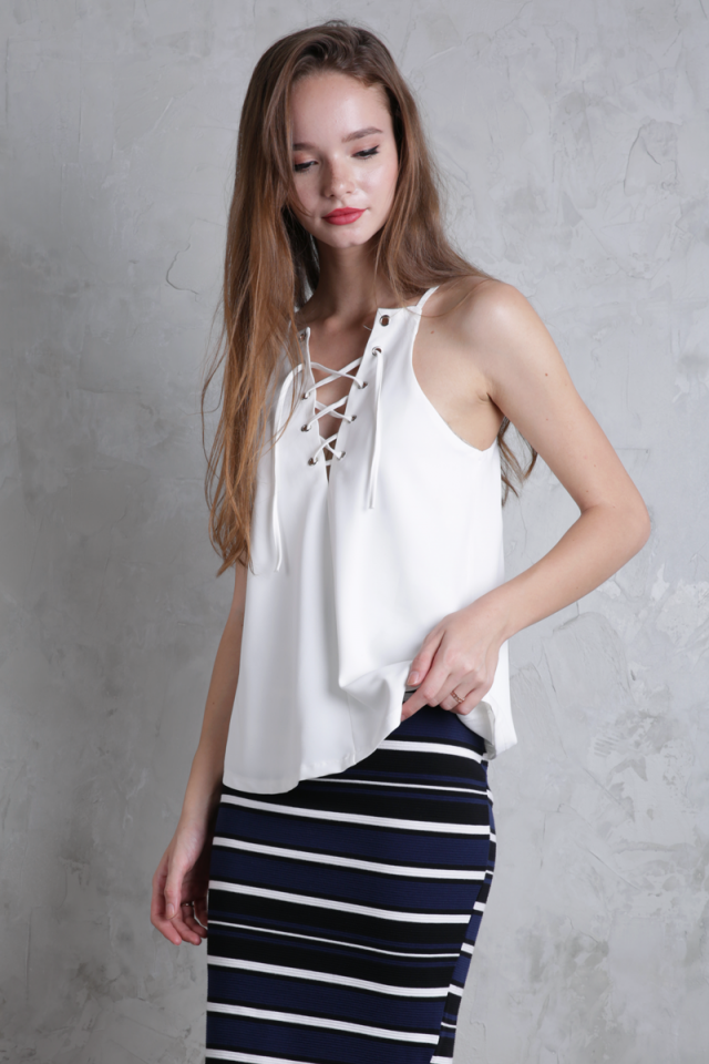 Lovina Laced Up Top (White)