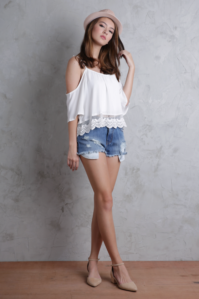 Ipanema Cold Shoulder Top (White)