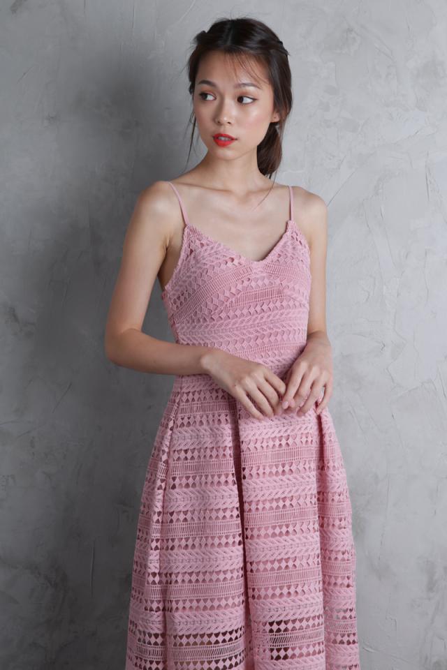 Eden Crochet Dress (Blossom Pink)