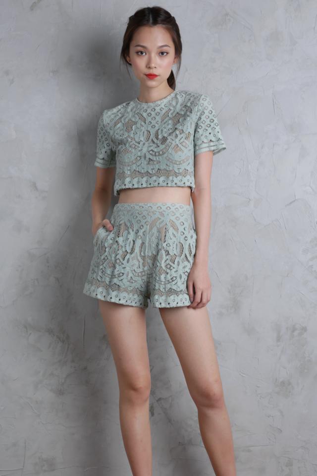 Ivana Flare Shorts (Mint Green)