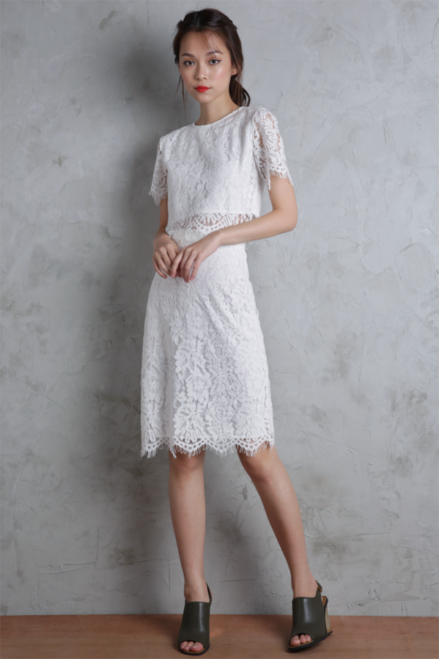 Alyssa Lace Skirt (White)
