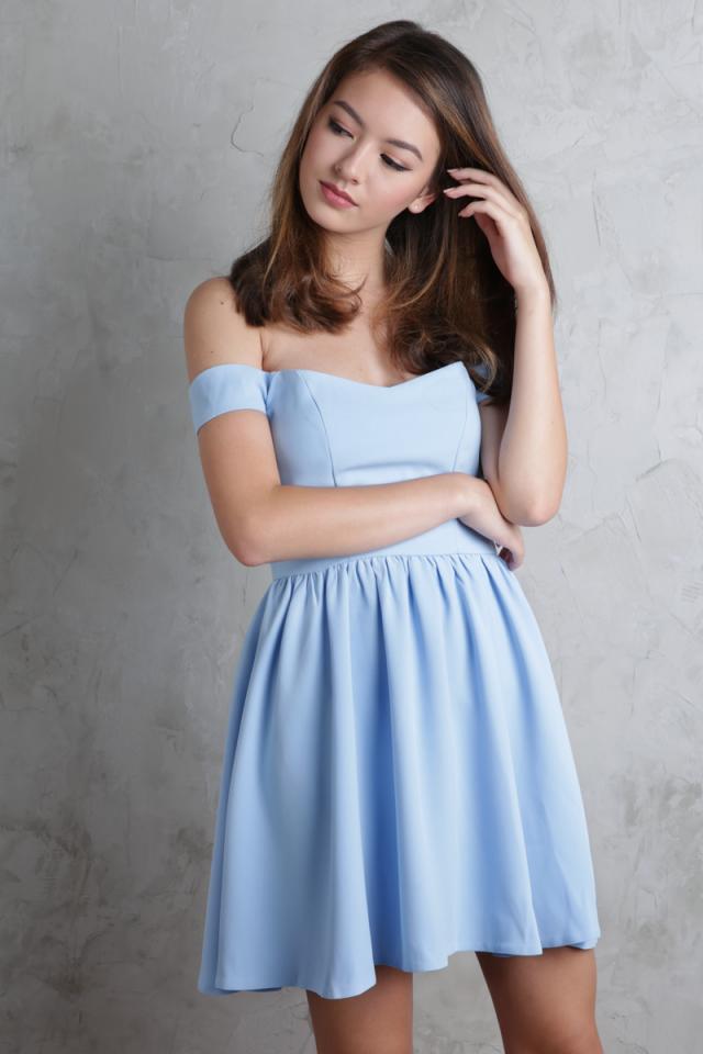 Koda Off Shoulder Dress (Sky Blue)