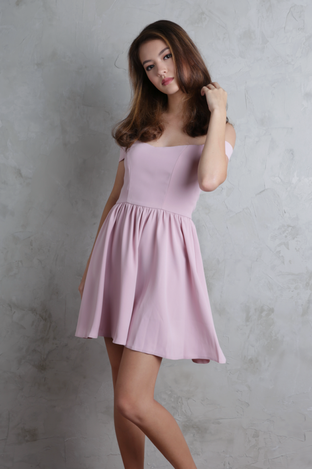 Koda Off Shoulder Dress (Mauve Pink)