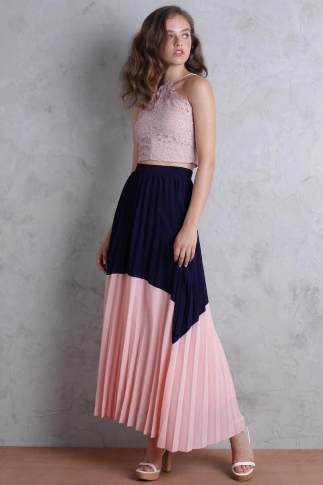 Blanca Pleated Colourblock Skirt (Indigo/Pink)