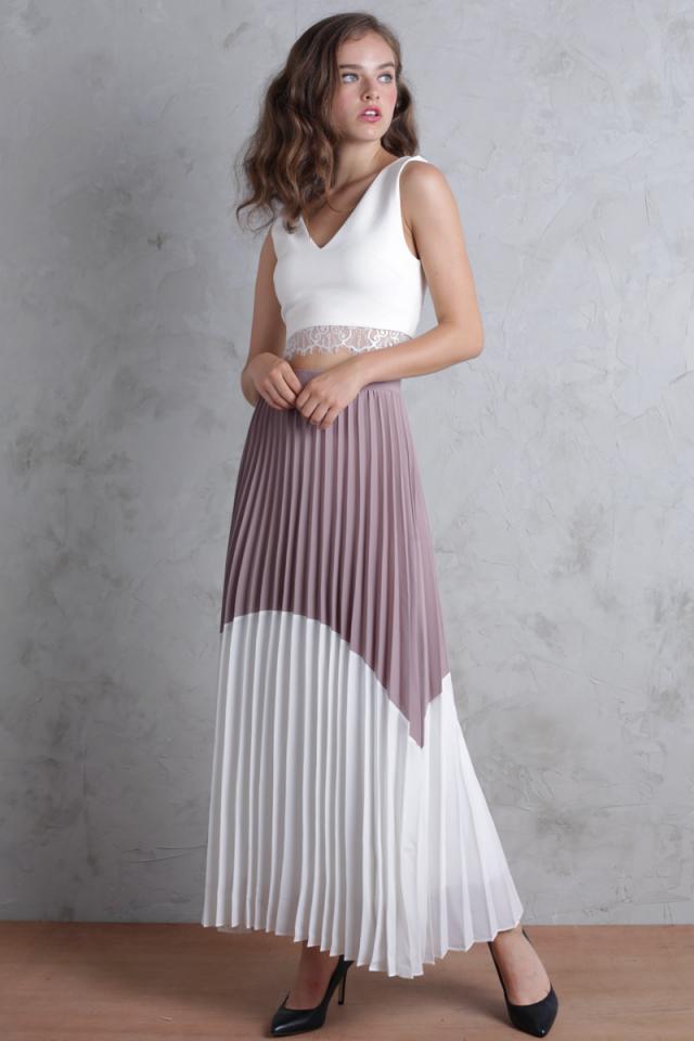 Blanca Pleated Colourblock Skirt (Clay/White)