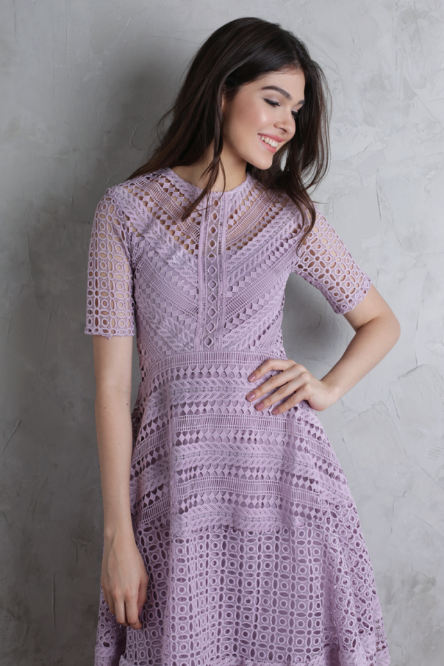 Freya Crochet Dress (Lilac)