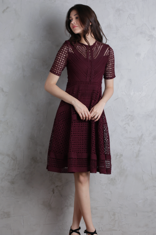 Freya Crochet Dress (Maroon)
