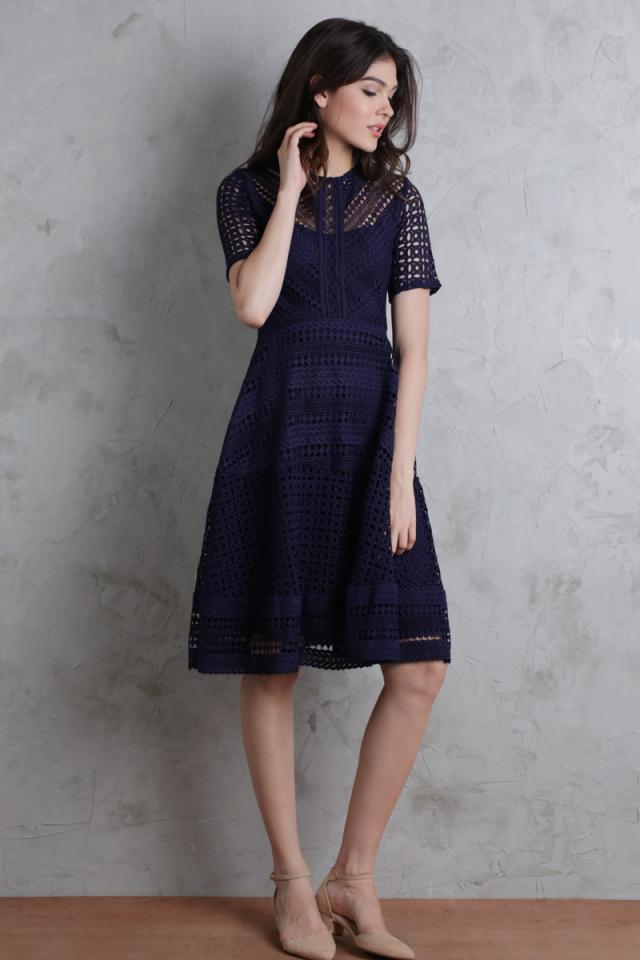 Freya Crochet Dress (Navy)