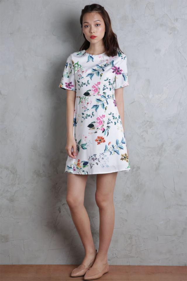Leanna Flare Dress (White Florals)