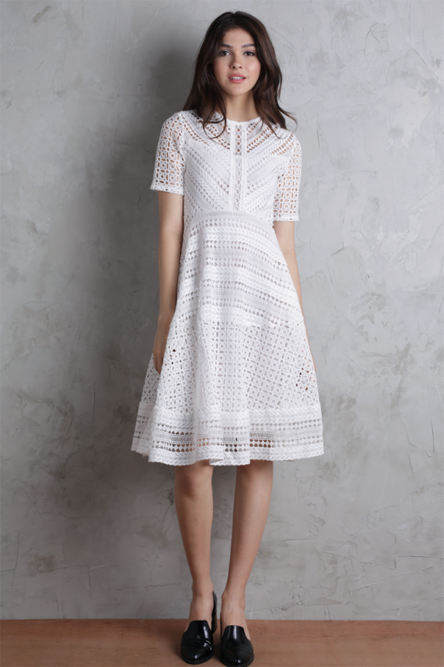 Freya Crochet Dress (White)