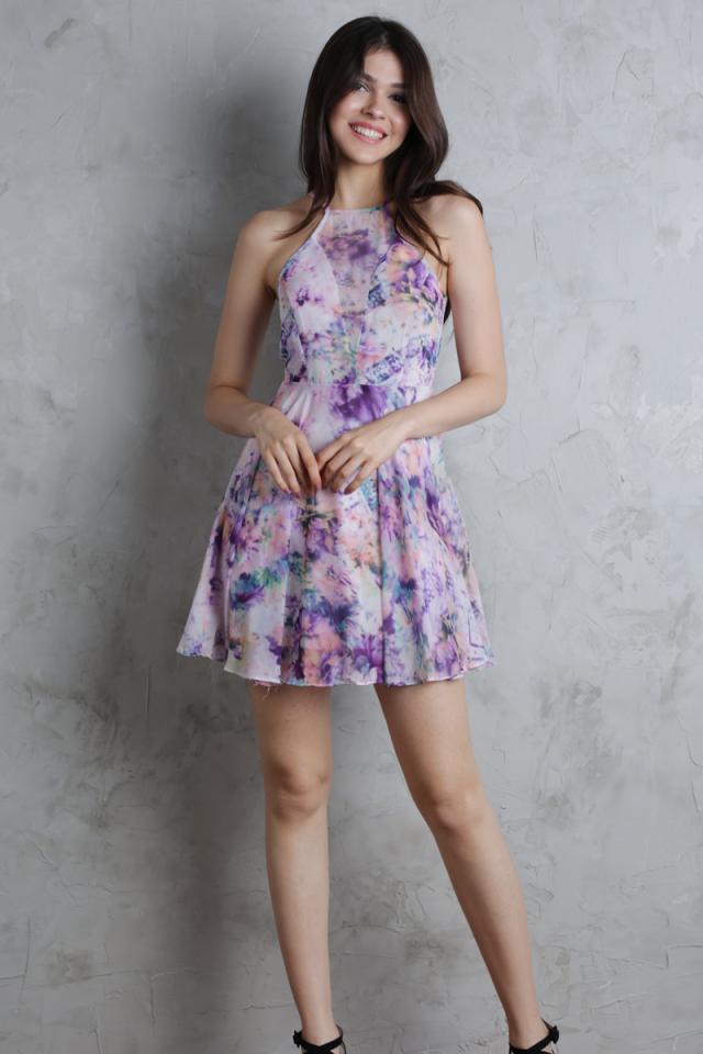 Avery Mesh Front Dress (Purple)