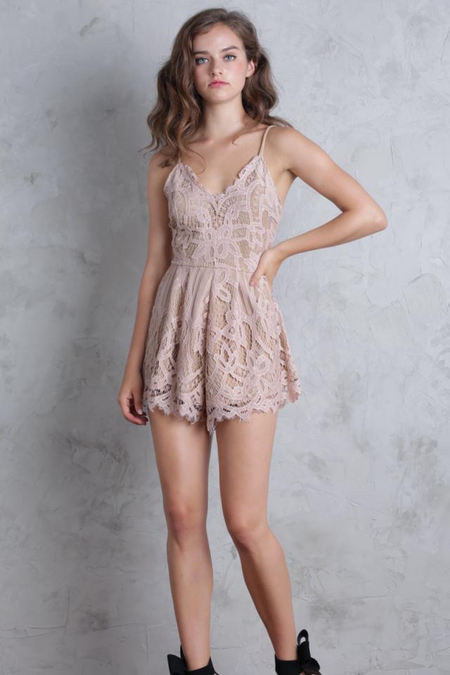 Halia Lace Romper (Nude Pink)