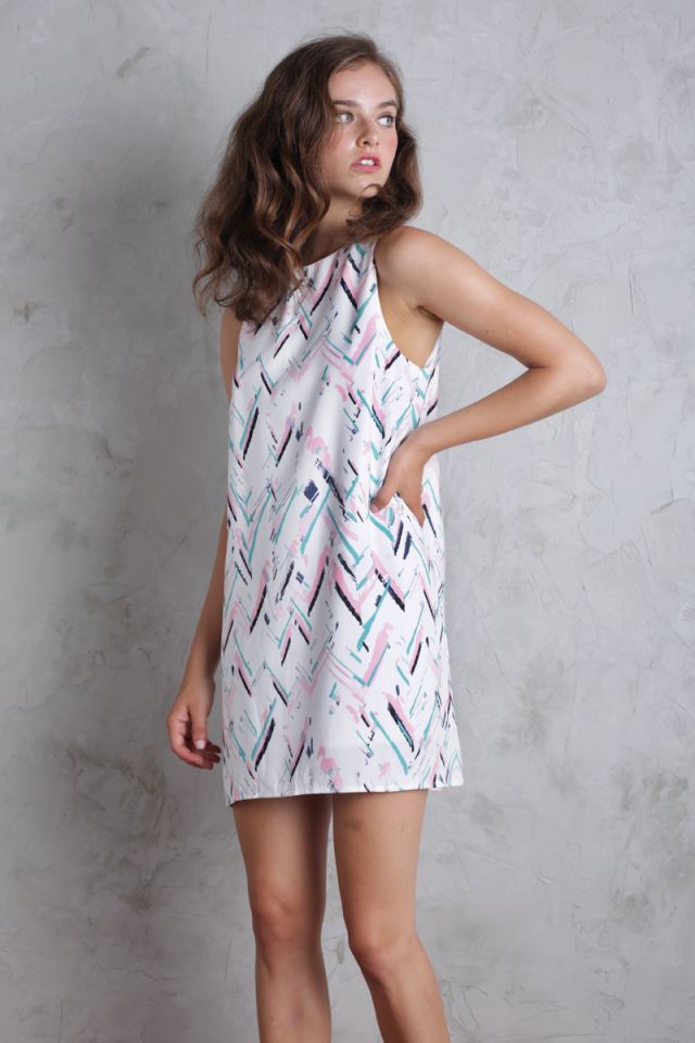 Blanc Swing Dress (Abstract)
