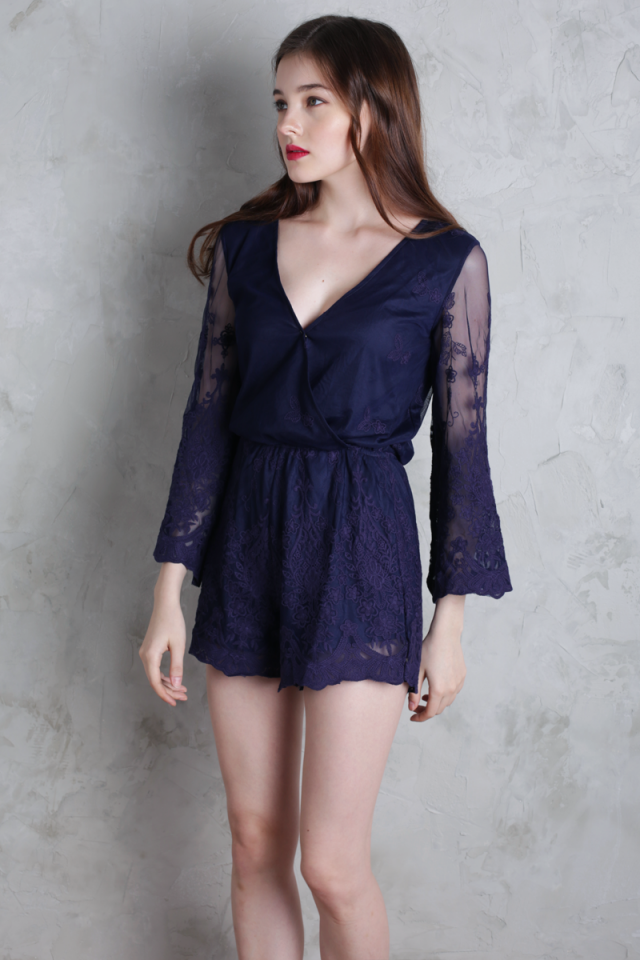 Amora Lace Sleeved Romper (Navy)