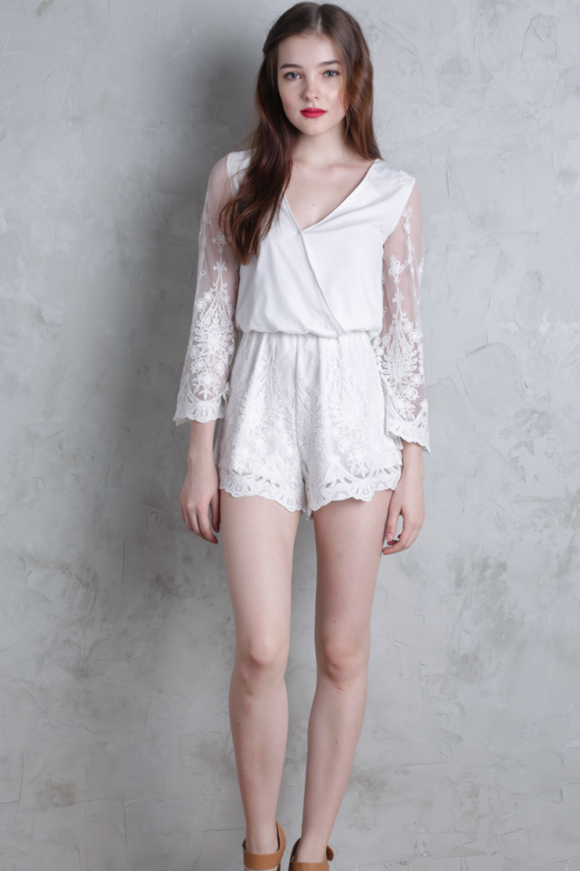 Amora Lace Sleeved Romper (White)