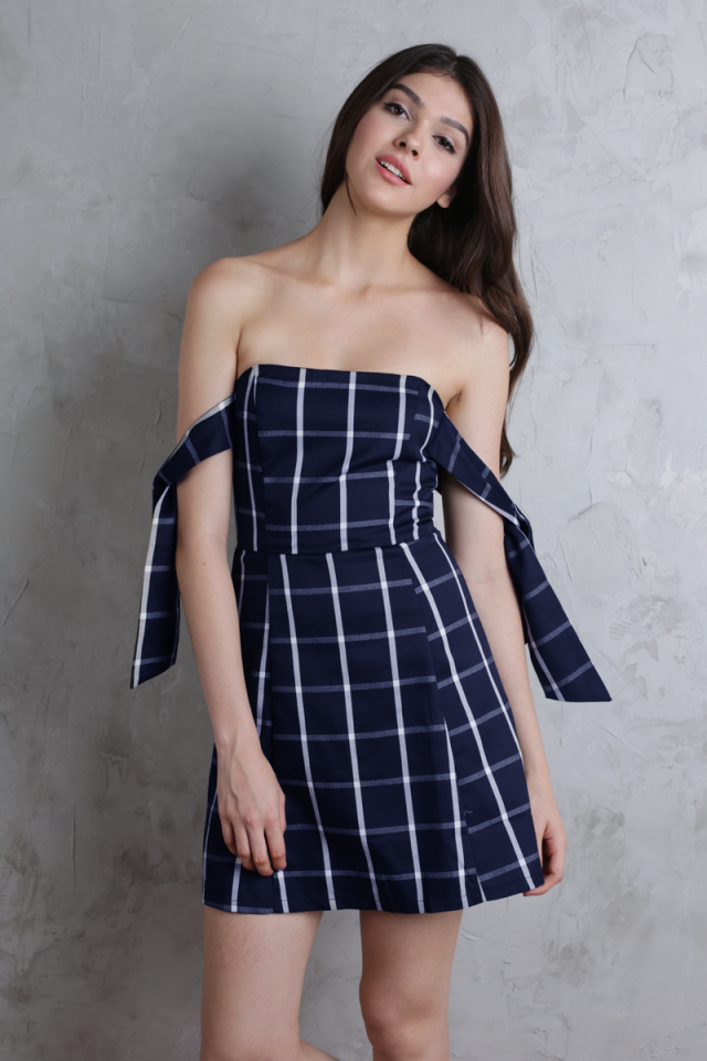 Jude Tie Shoulder Dress (Navy Plaid)