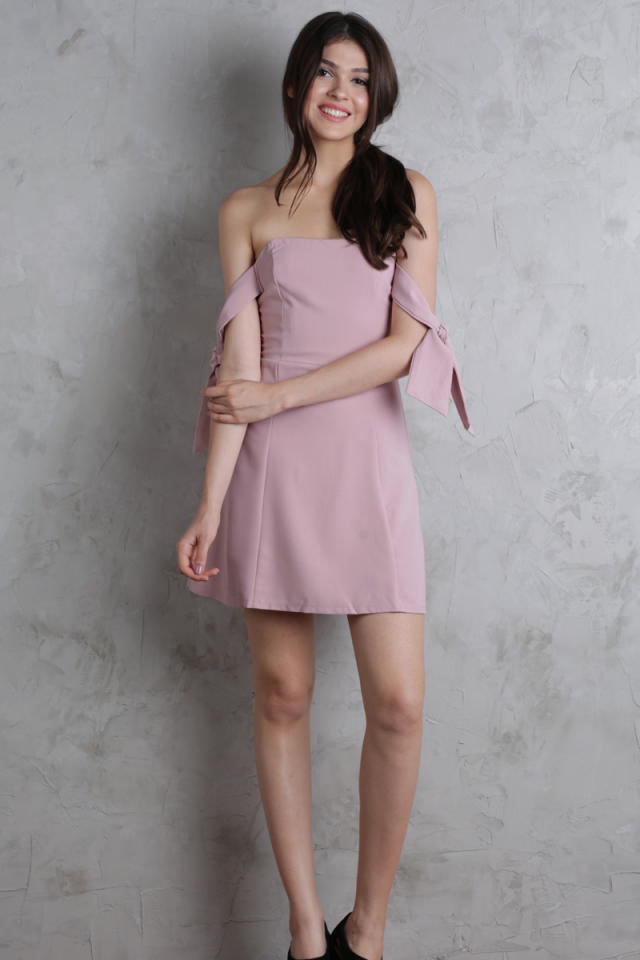 Jude Tie Shoulder Dress (Pink)