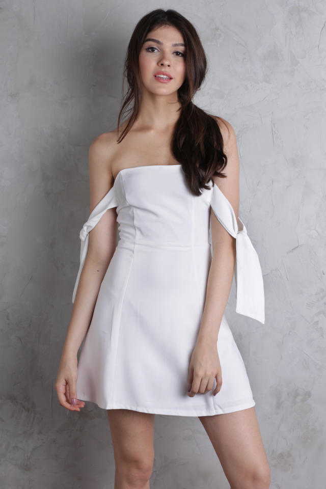 Jude Tie Shoulder Dress (White)