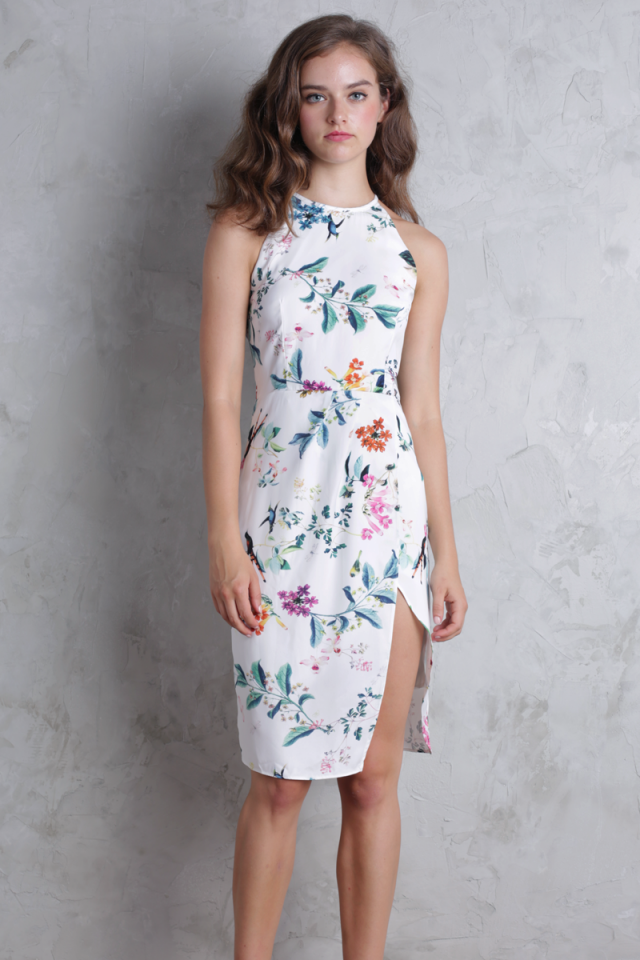 Karia Tulip Dress (White Florals)