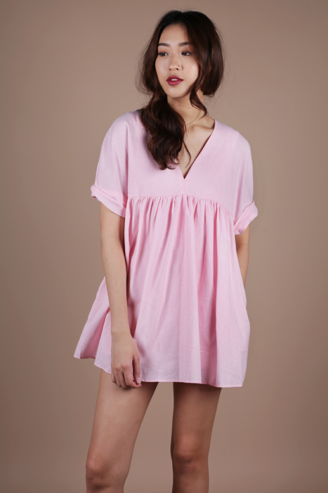 Chelsea Babydoll Romper (Pink)