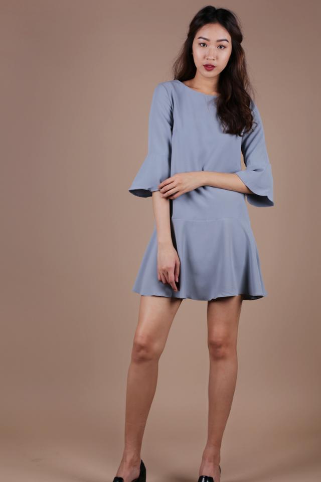 Hilary Flare Dress (Dusty Blue)