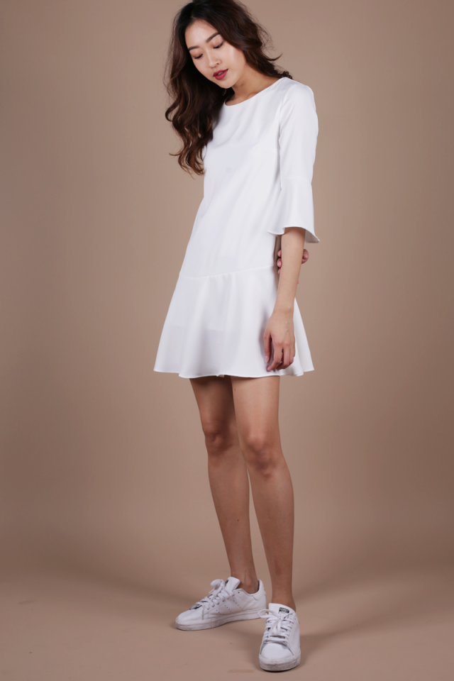 Hilary Flare Dress (White)