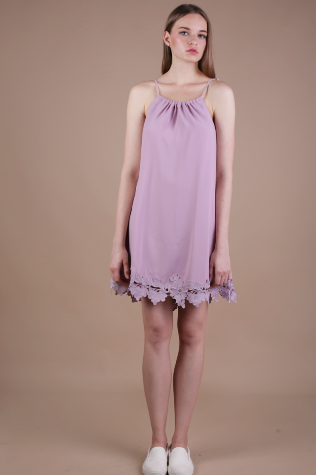 Laine Crochet Dress (Mauve Pink)