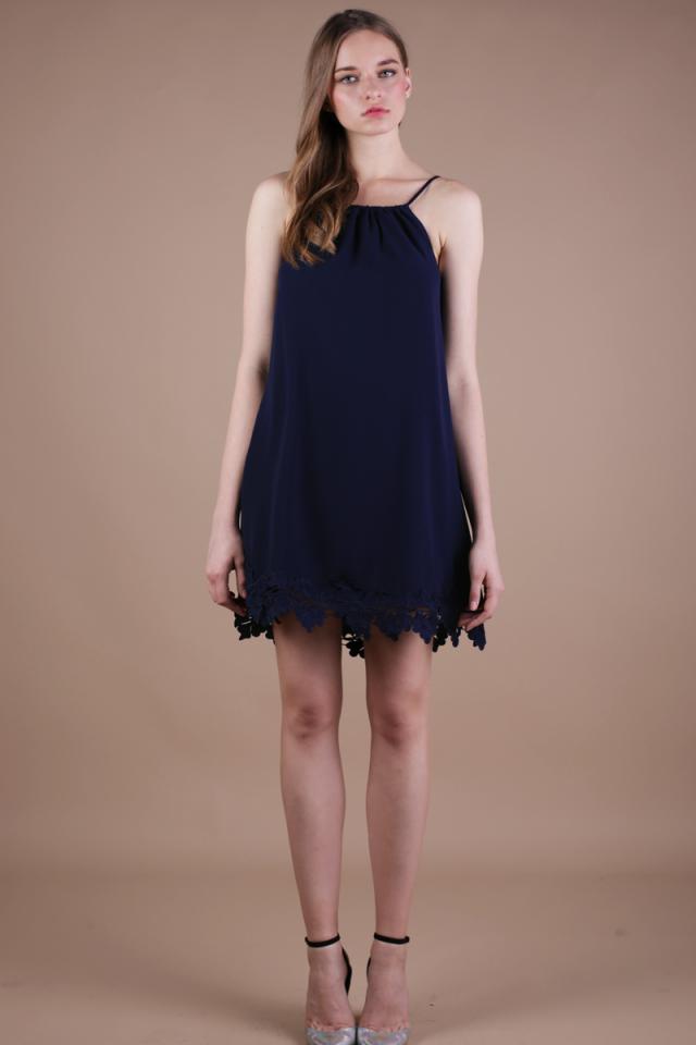 Laine Crochet Dress (Navy)